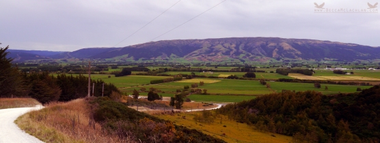 View of Maukaatua (Maungatua), The Taieri Plains and The Dunedin International Airport from Mclaren Gully Road, Brighton, New Zealand.